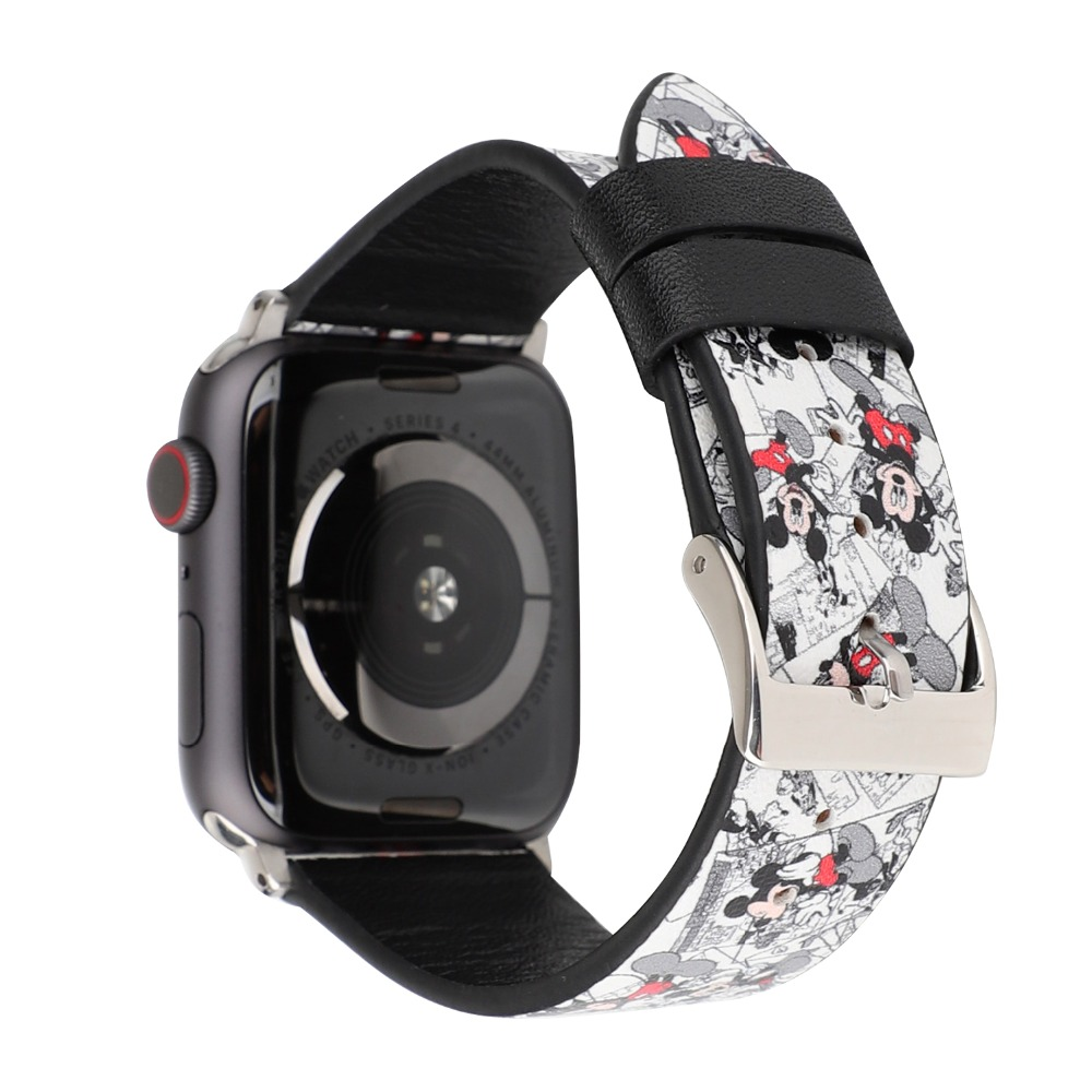 Cartoon leather watchband for apple watch bands series 4 3 2 1 Mickey mouse hello kitty
