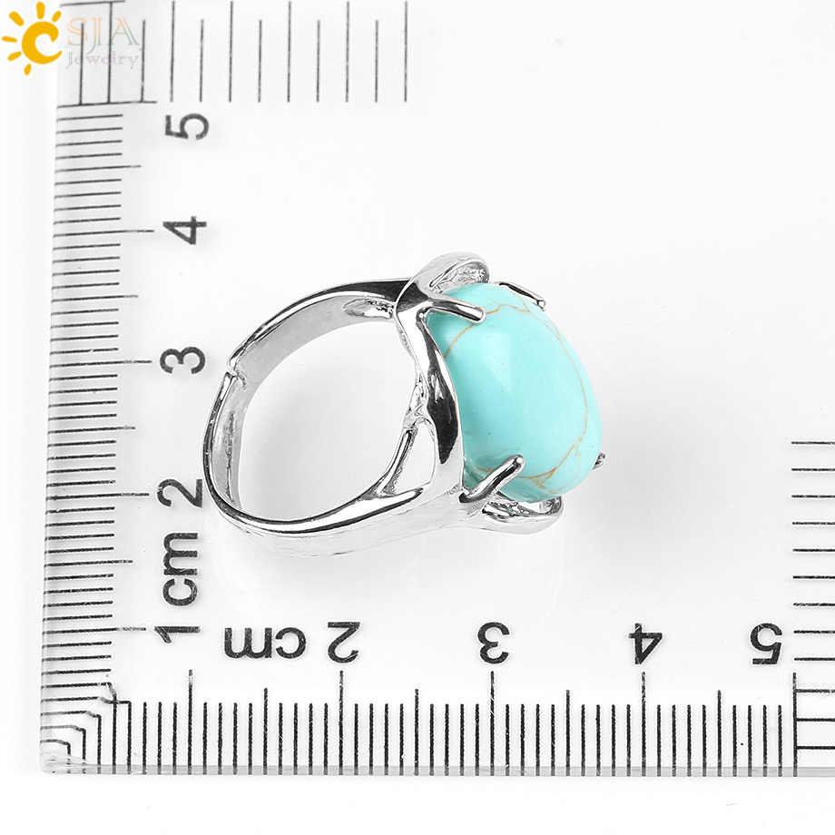 CSJA ใหม่แหวนธรรมชาติหิน Cabochon Tiger Eye โอปอล Unakite สีชมพูควอตซ์ Lapis Lazuli Chakra แหวน e583