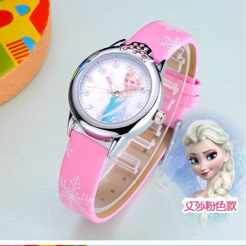 2019 New Cartoon Kids Children Elsa Anna Princess Watches Fashion Girl Student Cute Leather Quartz WristWatch Feminino Relojes