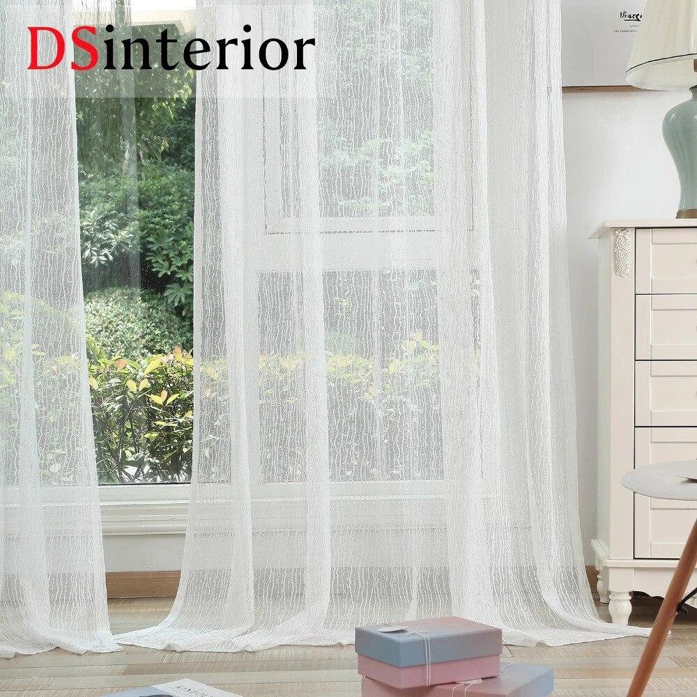 dsinterior rideau en tulle blanc transparent de haute qualite pour fenetre de chambre a coucher ou de salon