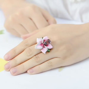 Image 5 - SANTUZZA Silver Flower Ring For Women 925 Sterling Silver Fashion Rings for Women Cubic Zirconia Ringen Party Jewelry Enamel