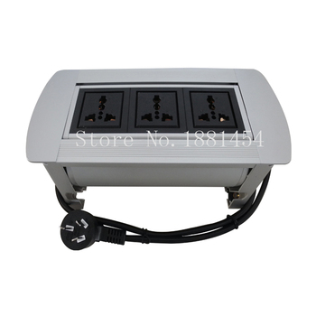 Cheaper And high quality Manual Socket with 3*Universal power ,Silver / blackt,can add more charge / data USB