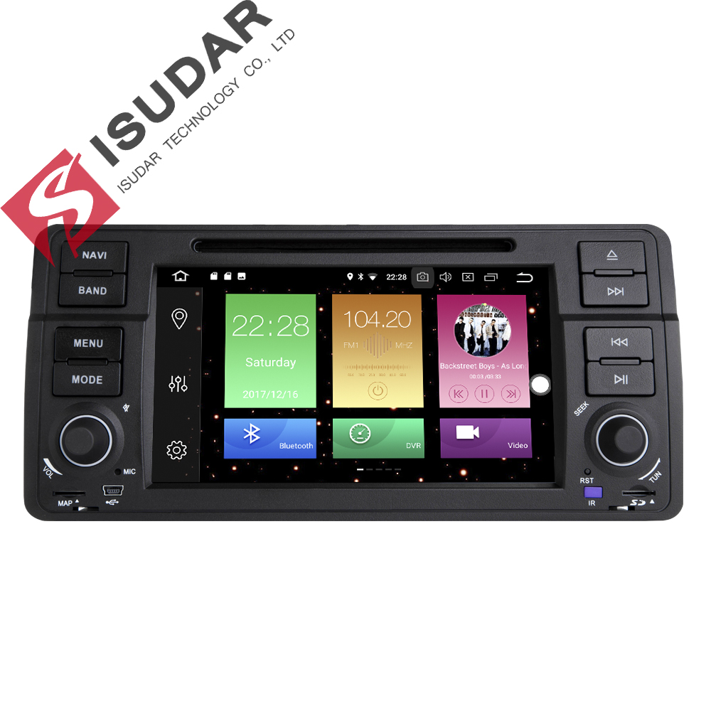 Isudar Car Multimedia Player GPS Android 8.0 Car Radio 1 Din For BMW/E46/3 Series Canbus Bluetooth Radio Rear View Camera DSP isudar car multimedia player gps for bmw e46 m3 mg zt rover 75 canbus radio capacitive touch screen dvd player bluetooth ipod