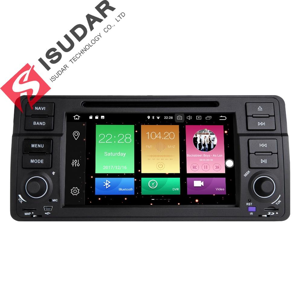 Isudar Voiture Multimédia Lecteur GPS Android 8.0 Voiture Radio 1 Din Pour BMW/E46/3 Série Canbus Bluetooth radio Arrière Vue Caméra DSP