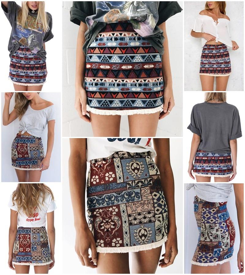 High Waist Chic Boho Fringe Bodycon Skirt 1