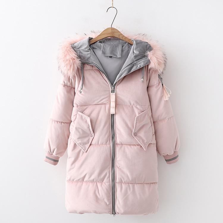 Winter   Parkas   Women's Casual Hooded Faux Fur Collar Thick Cotton Padded Jacket Pink Black velvet   Parka   Slim Jackets Warm Coat
