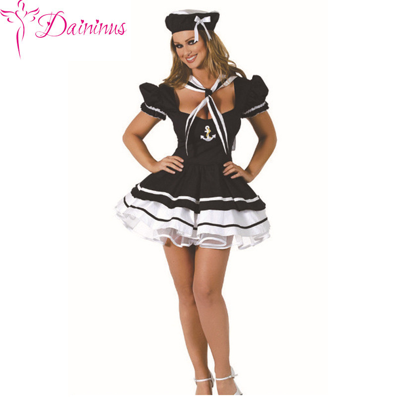 Daininus <font><b>Women</b></font> Adult Girls <font><b>Sexy</b></font> Profession Sailor Costumes marine Blue Girl Costumes <font><b>Dress</b></font> Set <font><b>Halloween</b></font> Costumes <font><b>Dress</b></font> image