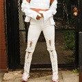 Venta caliente de Las Mujeres Pantalones de Invierno Chic Style Plus Size Negro Blanco lápiz Pantalones Más Populares Hollw Out Lace Up Cintura Alta Pantalones