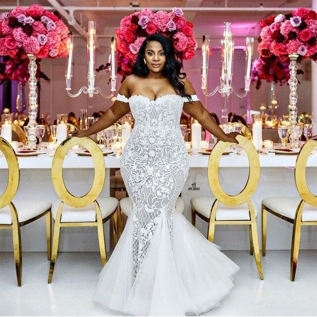 PLUSขนาดแต่งงานชุดเมอร์เมด 2020 ปิดไหล่ลูกไม้แอฟริกันApplique Vestido De Novia