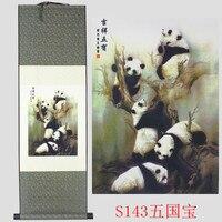 Panda wzór jedwabiu malowanie dekoracji przewiń malarstwa i nowa specjalna prezent hurtowych Pomyślny Szczęście pięć skarb