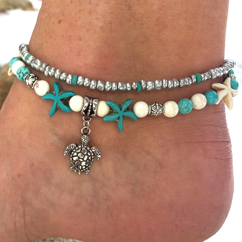 TJP 1pcs Boho Turtle Tortoise Charms Beach Anklet Bracelets Women Vintage Prom Foot Chain Natural Stone Jewelry Gifts in Anklets from Jewelry Accessories