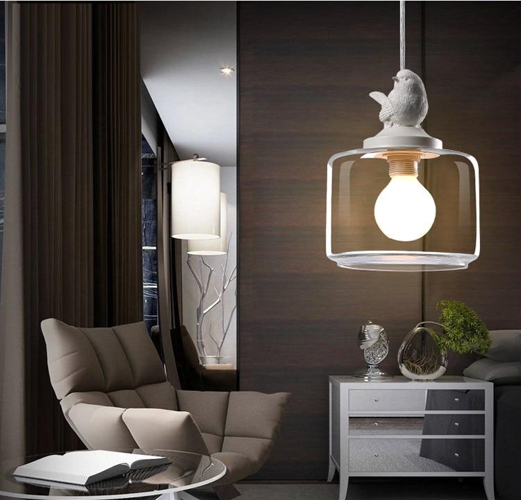 LuKLoy Resin Bird Pendant Lamp Light Nordic Glass Lights Lighting for Loft Kitchen Dining Room Ceiling Bedroom Decoration (8)