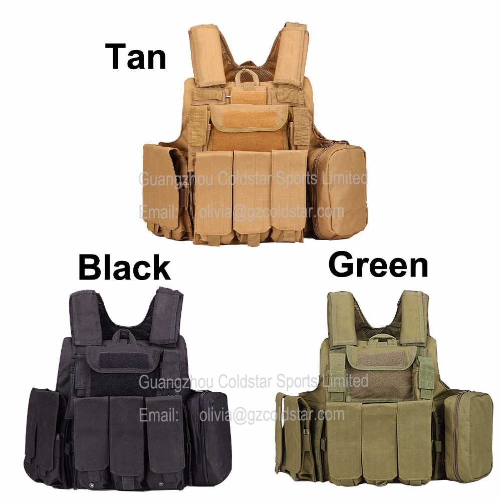 Heavy Duty Tactical Military Vest Camouflage Outdoor Army Tranining Combat Assault MOLLE Armour Uniform With 8 pouches