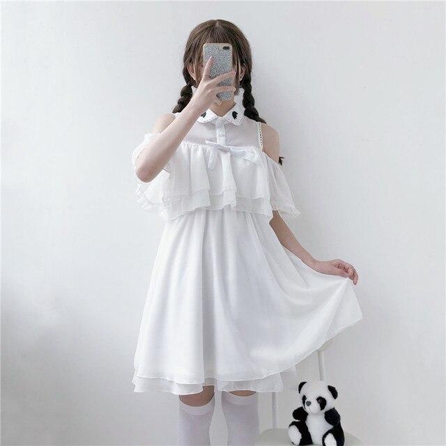 77e60d3fd2 Summer Japanese Dark Kawaii Female Lace Bow Dress Soft Sister Lovely Bat Lolita  Ruffle Off Shoulder