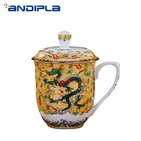 800ml Jingdezhen Ceramic Bone china Tea Cup Office Water Cup with Lid Milk Coffee Teacups Chinese Tradition Dragon Pattern Mug