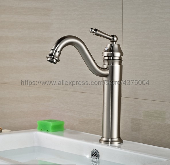 цена на Bathroom Faucet Brushed Nickel Single Handle Hot & Cold Water Mixer Taps Wash Basin Bathroom Deck Mounted Faucet Nnf209