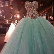 Бирюзовые пышные Дешевые Бальные платья милое Тюлевое платье с бисером и кристаллами вечерние платья 16