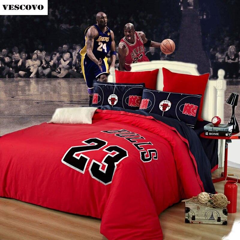 100 cotton Jordan retro style red duvet cover set bedding sheet set king size