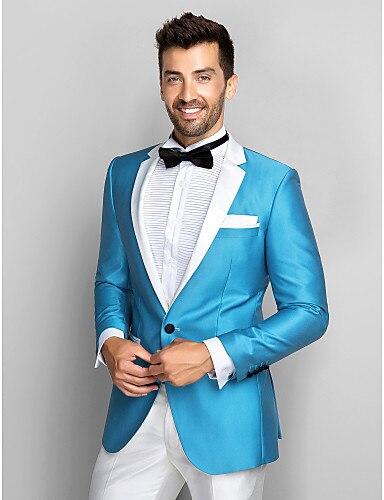 2018 Slim Fit Blue Blazer White Lapel Groom Tuxedos 2 Pieces Men\'s ...