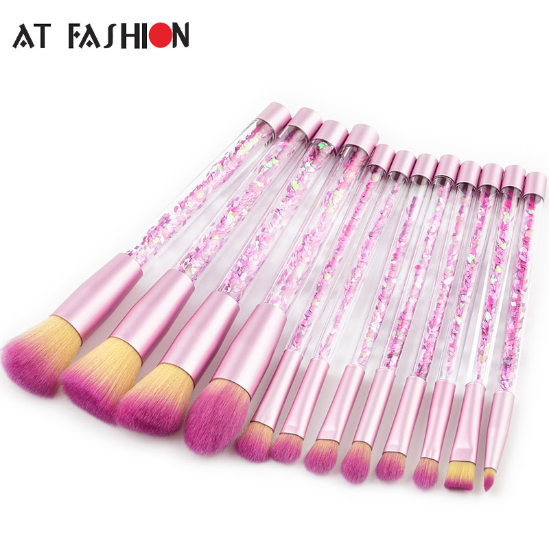 AT FASHION New Glitter Crystal 12pcs Makeup Brush Kit Diamond Professional Makeup Brushes Foundation Powder Make Up Brush Set aquarium liquid glitter brush set mermaid makeup brushes bling bling glitter handle make up brush kit pincel sereia maquiagem