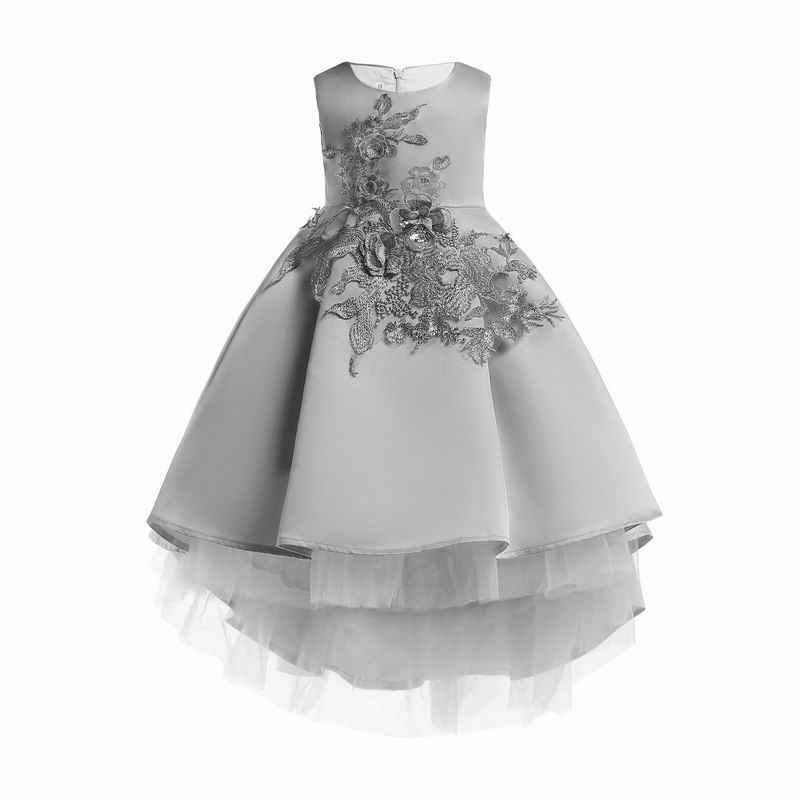 2019 Spring New Girl Dress Appliques Flower High Low Gauze Sleeveless Princess Dress Children Clothing 3-9 Years E2650