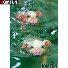 HOMFUN Full Square/Round Drill 5D DIY Diamond Painting Pig swimming 3D Embroidery Cross Stitch Home Decor A19217
