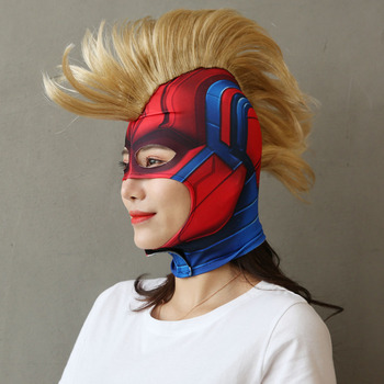 Captain Marvel Helmet Cosplay Mask Carol Danvers Superhero Halloween Masks Costume Party Props Drop Shipping the strangers prey at night mask kinsey masque movie cosplay helmet masks halloween costume party props