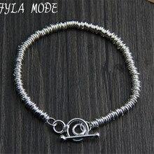 Fyla Mode Brand Fine Jewelry 100% 925 Sterling Silver Bracelet For Men Classic Charm Bracelet Thai Silver Men's Bracelet WT004