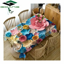 GOANG table cloth 3d Colored Flower pattern waterproof dustproof Thicken rectangular and round tablecloth Home textile