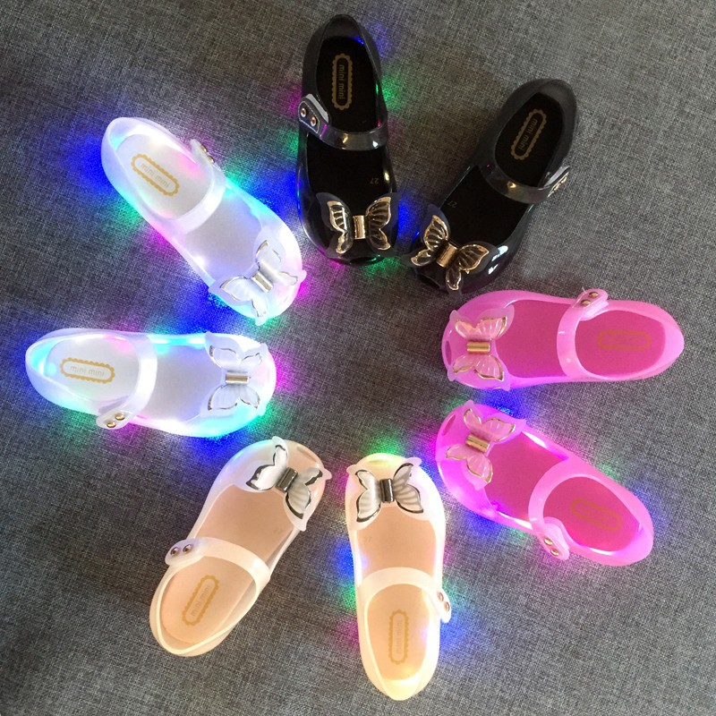 2020 Mini Melissa  LED Light 3D Butterfly Jelly Sandals  New Girl Shoes Bow Princess Jelly Shoes  Princess Melissa Sandals