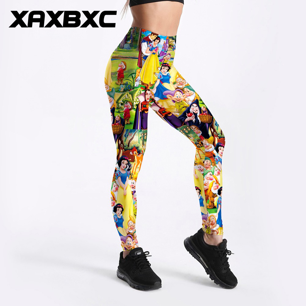 f9c096213a Detail Feedback Questions about XAXBXC 3303 Sexy Girl Pencil Pant New Snow  White and seven dwarfs Prints Elastic Slim Fitness Workout Women Leggings  Plus ...