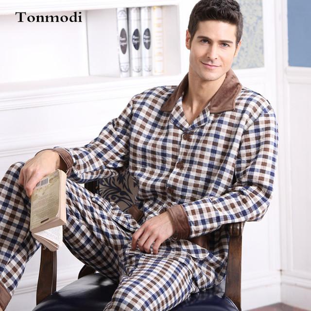 Pijamas para hombre Carpeta ropa de Dormir de Algodón de manga Larga A Cuadros Cardigan Otoño E Invierno de Los Hombres Del Sueño Pijama
