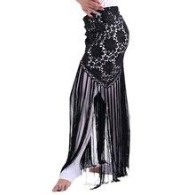 Женская одежда для танца живота ручной работы, длинная кружевная одежда для танца живота с цветами и бахромой, треугольный пояс для танца живота