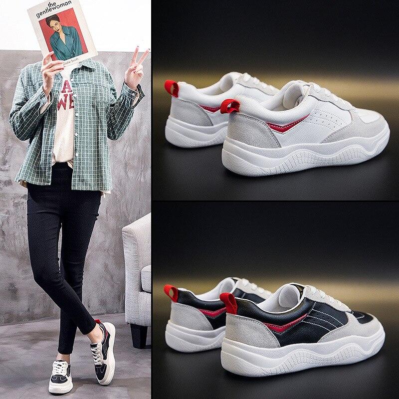 2019 Plano Color De Cuero blanco Primavera Estudiante Negro Zapatos Nueva Casuales Fondo Moda Coreano Salvaje rvnqrzwU
