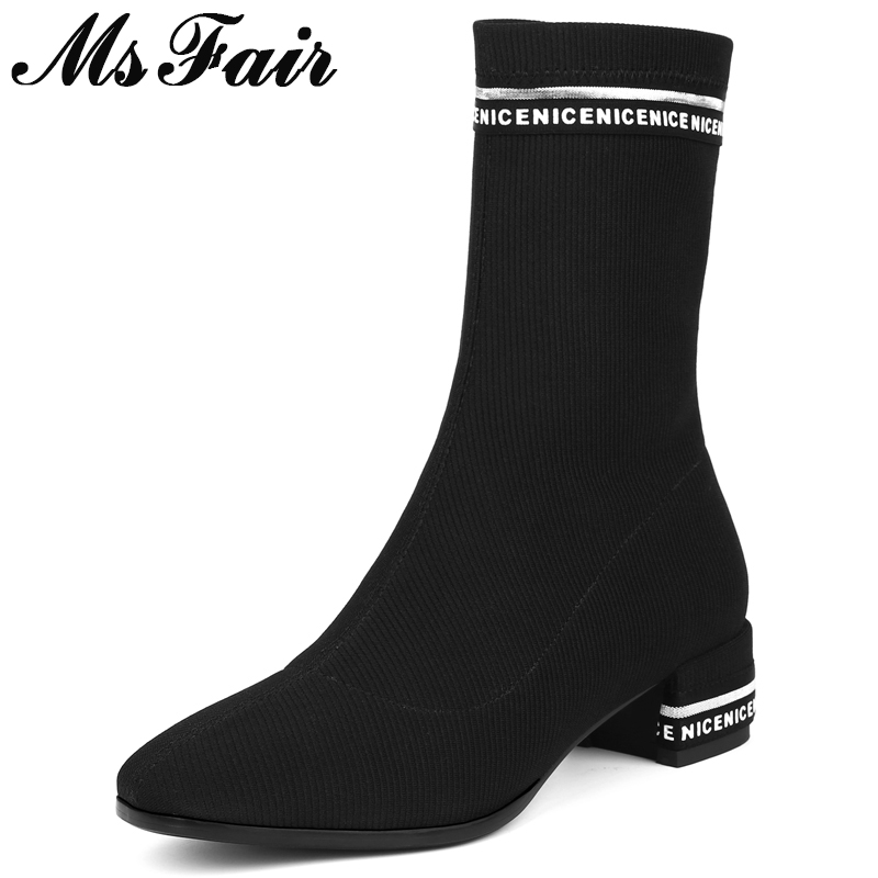 Tacón Caliente Carta Redonda Cuadrado Chica Venta Negro Punta Zapatos Msfair Mujeres 2018 Botas Bota De Tobillo Para U1PIx
