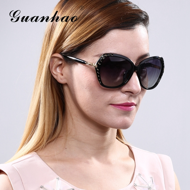 18d11f0ca4 GUANHAO 2017 New Brand Fashion Women Sunglasses UV Protection HD View  Designer Poolarize Cat Eye Designer Round Face r For Women