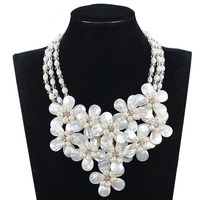 Fabulous Shell Flower Bib Wedding Pearl Necklace Chunky Bib Statement Necklace Freshwater Pearl Jewelry Free Shipping FP188