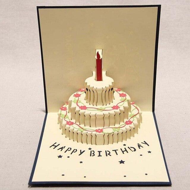 Super 4 Pieces Lot Happy Birthday Card 3D Pop Up Birthday Cake Greeting Funny Birthday Cards Online Benoljebrpdamsfinfo