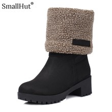 Flock High Thick Heel Ankle Boots Women Winter Ladies Round Toe Shoes D070 Fashion Warm Woman Black Khaki Gray Platform Boots цены онлайн