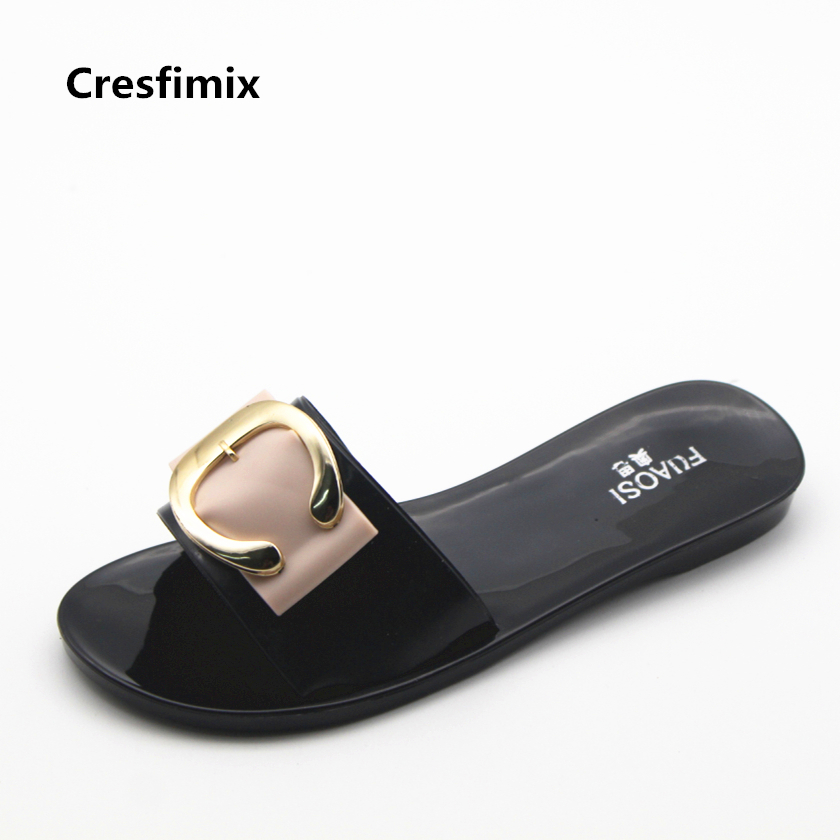 Cresfimix women cute spring & summer slides lady casual black slip on slippers female soft & comfortable outdise slippers zapato cresfimix women cute spring