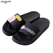 WHOHOLL Women Summer Non-Slip Cartoon Print Home Slippers Outdoor Beach Indoor Bathroom Slipper