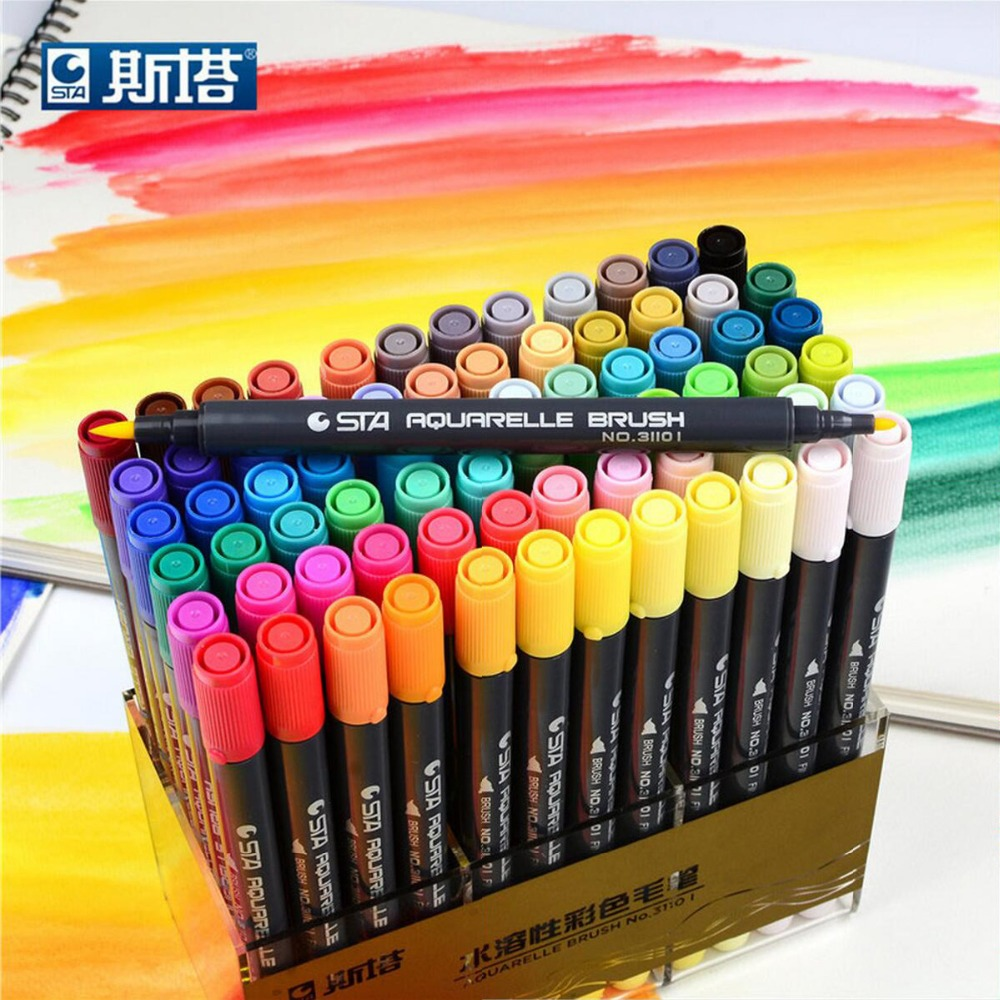 STA 12/24/36/48/72/80 Art Brush Sketch Marker Pens Water Based Ink Twin Tip Marker Pen for Art Graphic Drawing Manga Fine Art 36 colors set 0 4mm fine liner colored marker pens watercolor based art markers for manga anime sketch drawing pen art supplies