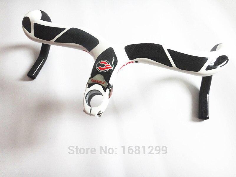 Цена за Последним белый красный велосипеды углеродного руль полный углеродного волокна руль и уплотнением интегрированы с компьютером стент отверстия