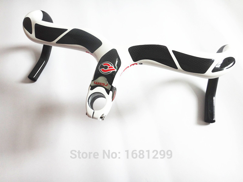 Newest white red Road bike carbon handlebar full carbon fibre bicycle handlebar and stem integrated with computer stent holes стоимость