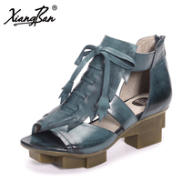 Xiangban Genuine Leather Platform Sandals Women Summer Shoes Female Summer Boots Lace Up 1236AK91