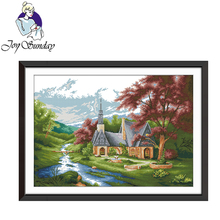 Joy Sunday,Church,cross stitch embroidery set,printing cloth kit,cross needlework,Scenery pattern cross
