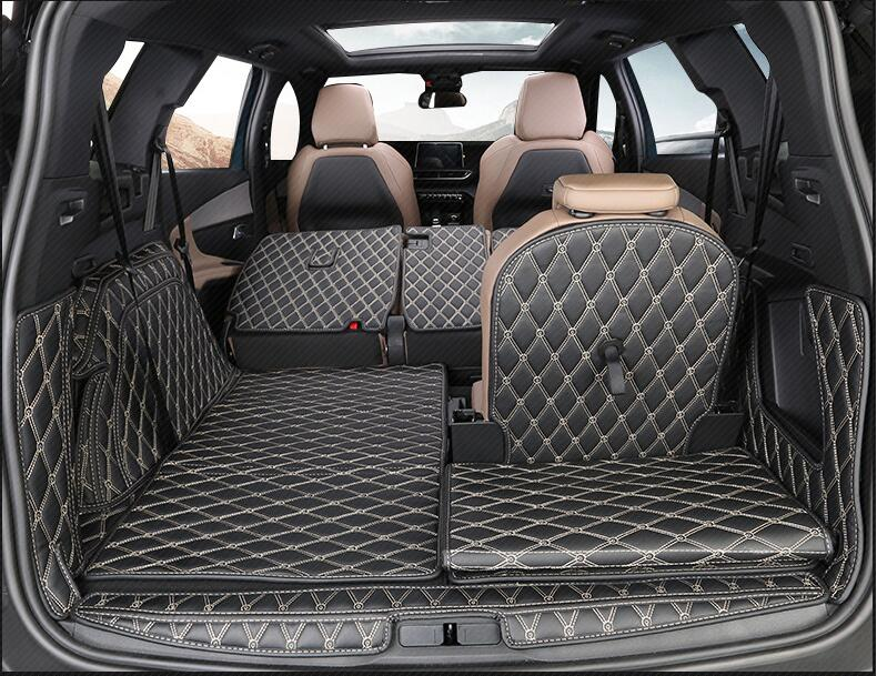 Brand New For Peugeot 5008 2017 12PCS High Quality Car Trunk Mat Carpet Inside Mats PU Leather Pad Auto Accessories