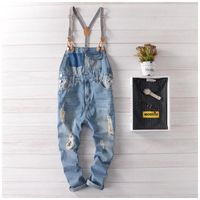 hip hop streetwear swag pants Spring Autumn Fashion men jean overalls Casual bib jeans for men Male Ripped denim jumpsuit 71303