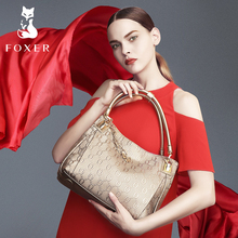 FOXER Brand Article Cow Leather Women Handbags Shoulder Bag for Female Fashion Totes Purse Tassel Bags Gift