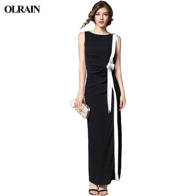 Olrain Women Sexy Long Dresses Black Party Summer Chiffon Striped Elegant  Sleeveless Split Bodycon Maxi Dress 3ddf5b8279d4